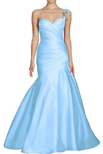 Victory Bridal 2016 Etui-Linie One-Shoulder-Tr?ger Hof-schleppe Satin Abendkleid mit R¨¹schen Blumen Abendkleider Ballkleider Blau