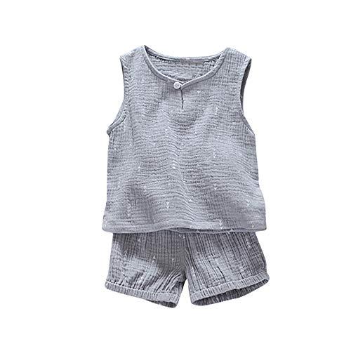 EUCoo_ Kinder 2PC männliches Baby Kinderkleidung Baby Sommer Baumwolle und Leinen Weste Shorts Anzug komfortable ärmellose weiche Sommeranzug(Grau, 90/M/8)
