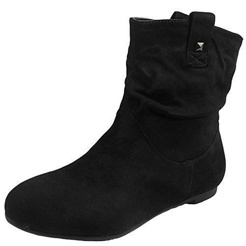 womens-pixie-rouched-flat-pull-on-low-heel-casual-ladies-slouch-ankle-boots-size-3-8-7-black-suede