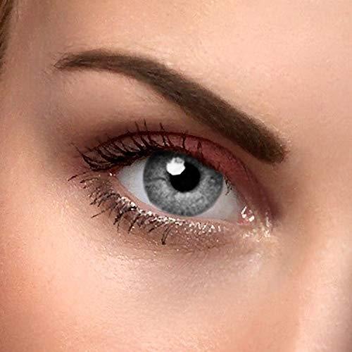 "2x farbige Kontaktlinsen Grau - 2 Kontaktlinsen ohne Stärke\""Grey Two\"" + gratis Kontaktlinsenbehälter"