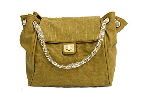 Womens Ladies sac à main de luxe bracelet en cuir sac à main d'or comme Zip Strap Moutarde