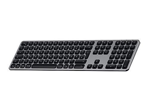 SATECHI kabelloses Bluetooth Keyboard mit numerischem Keypad und Sync-Funktion für 3 Geräte aus Aluminium (Deutsch, Space Grau) - Mac Pro-bluetooth