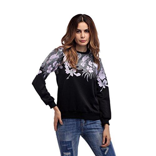 CHENGYANG Donna Casual Stampato Felpe Pullover Manica Lunga Tops Sweatshirt Nero