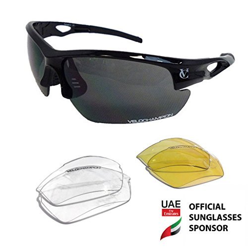 VeloChampion Tornado Cycling Running Sports Sunglasses - Gunmetal  Black with 3 Sets of Lenses and Soft Pouch