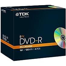 TDK DVD-R - DVD+RW vírgenes (4,7 GB, DVD-R, 120 min, Caja de cd, 16x, 100 Año(s))