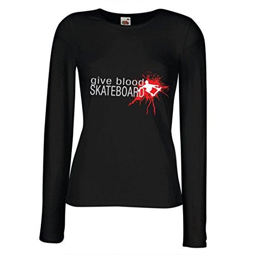 lepni.me Longues Femme T-Shirt Donne du Skateboard de Sang! - Citations de Skateboard rigolos, Patineur Professionnel Noir Multicolore