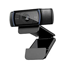 Logitech, C920 HD Pro Webcam, Full HD 1080p Video Calling and Recording, Dual Stereo Audio, Stream Gaming, Two Microphones, Small, Agile, Adjustable, Black