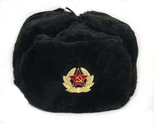 Russian Soviet Military Hat Black/ Shapka Ushanka by RussianOrnaments