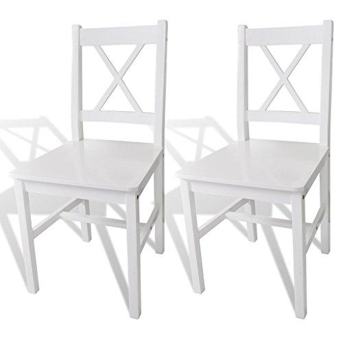 vidaXL Massivholz 2x Esszimmerstuhl Weiß Küchenstuhl Holzstuhl Stuhlgruppe