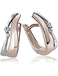 Goldmaid Women's 925 Sterling Silver Hoop Earrings Bicolor Rosegold Plated with two white Zirconia