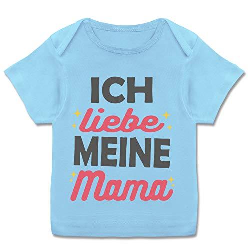 Muttertag Baby - Ich Liebe Meine Mama Sterne - 80-86 (18 Monate) - Babyblau - E110B - Kurzarm Baby-Shirt für Jungen und Mädchen (Ich Liebe Meine Mami-shirt Für Jungen)