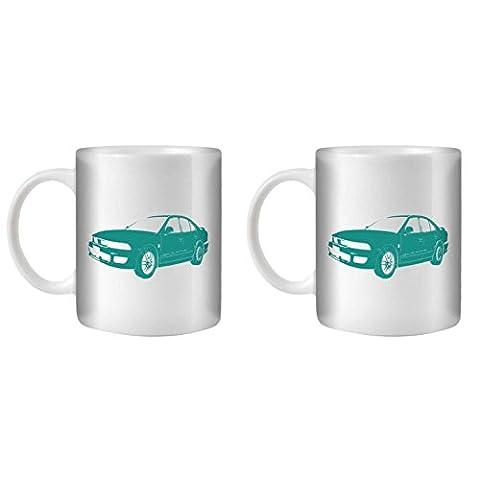 STUFF4 Tea/Coffee Mug/Cup 350ml/2 Pack Turquoise/Galant VR4/White Ceramic/ST10