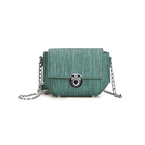 PU borsa, Women's Fashion Chains Flap borse crossbody spalla borse di Kangrunmy Verde