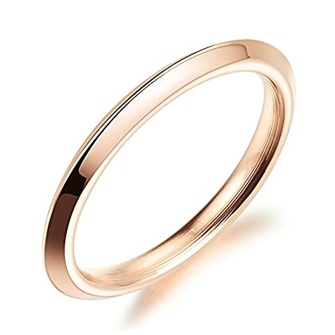 Fate Love 14K Rose Gold Plated Polish Plain Dome Ring Comfort Fit Wedding Band 2MM (Size J to Q)
