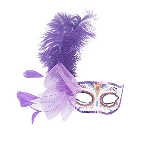 Venezianische Masquerade Masken Mardi Gras Kostüm mit Feder Blumen violett (Adult Kostüme Pinatas)