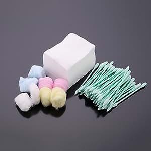 Anself 3 in 1 Kit de Maquillage Coton Avec Coton-tiges Coton Boules Ecouvillons Propre Démaquillage Set