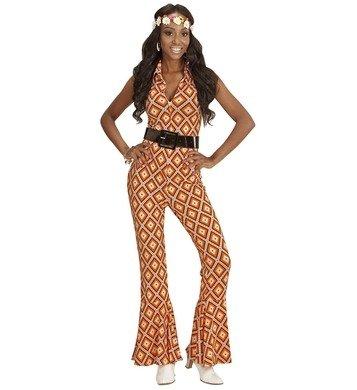 70er Jahre Jumpsuit Damen Kostüm Siebziger Schlager Retro Body Einteiler 70-er (Large, Rhombus orange (Für Kostüme Orange Damen Jumpsuit)