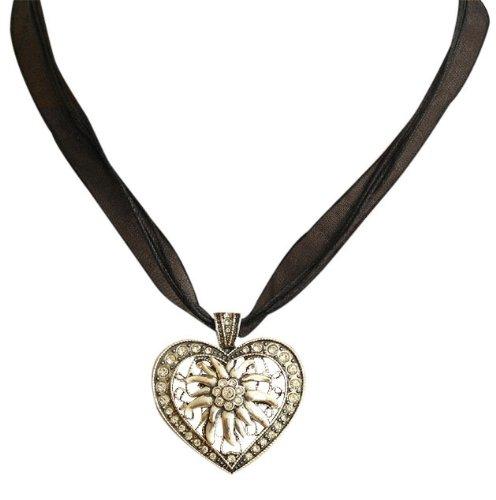 Trachtenschmuck Kristall Herz Collier mit Edelweiss – ornamentales Design – Crystal klare...
