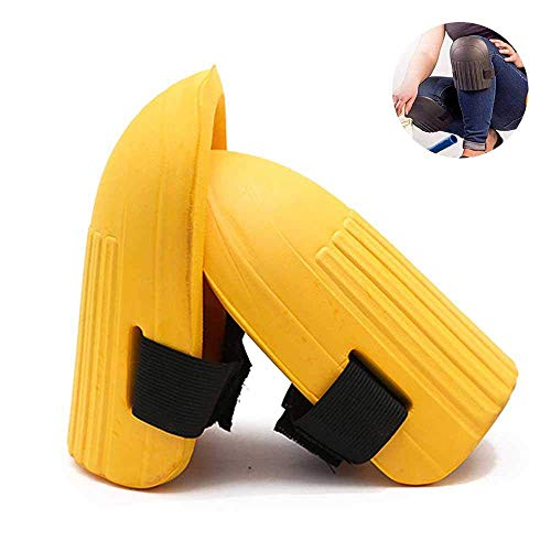 CWeep Waterproof Adjustable Gardening Knee Pads, 0.5'''' Extra Thick & Waterproof Eva Foam Kneeling Cushion with Soft Inner Liner and Elastic Straps for Gardening, Prayers & Exercise (Yellow) -