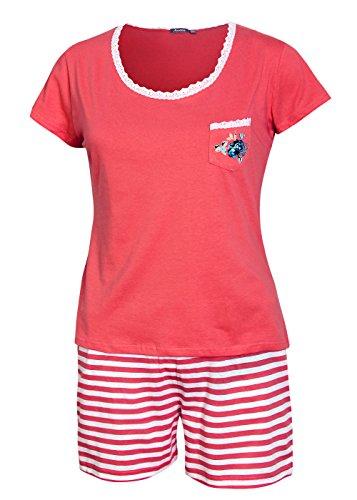 Damen Pyjama kurz Damen Schlafanzug kurz Damen Nachthemd kurz aus 100% Baumwolle softweich Gr L/44-46