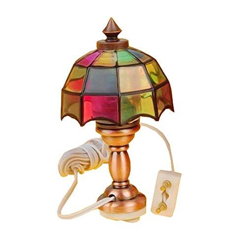 Rocita 5x2.7cm 12V 1/12 casa de muñecas Lámpara de Mesa en Miniatura de Estilo victoriAño (Pueden reemplazarse Las Bombillas internas)