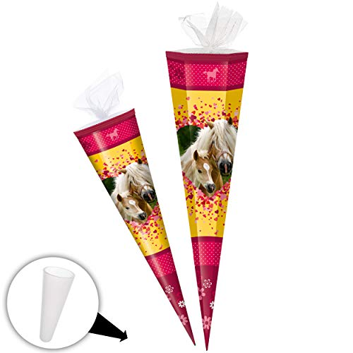 alles-meine.de GmbH Schultüte - Pferde - Pferdetraum - 50 cm - rund - Tüllabschluß - Zuckertüte - mit / ohne Kunststoff Spitze - Markneukirchen - Mädchen Kinder - Tiere Pferd Tie..