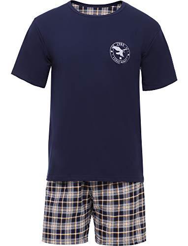 Timone Herren Schlafanzug TI30-108 (Marineblau/Kariert1, M)