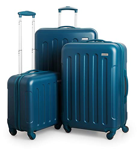 SUITLINE Kofferset, 3 Hartschalen-Trolleys - Kabinengepäck + mittelgroßer Koffer + großer Reisekoffer, Set di valigie 77 centimeters 185 Blu (Petrolblau)