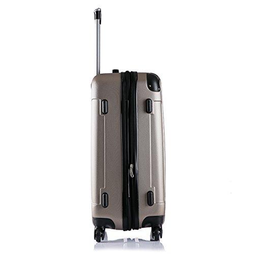 WOLTU RK4205ch Reise Koffer Trolley Hartschale mit erweiterbare Volumen , Reisekoffer Hartschalenkoffer 4 Rollen , M / L / XL / Set , leicht und günstig , Champagne (M, 56 cm & 42 Liter) - 3
