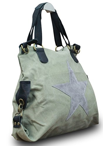 My-Musthave Shopper Canvas-Tasche Stern Blogger Schultertasche Canvas Leder Vintage Used Look, Farbe:Grau Grau
