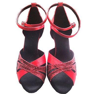 XIAMUO Anpassbare Damen Tanzschuhe Latein/Ballsaal Satin/funkelnden Glitter angepasste Heel Rot Rot