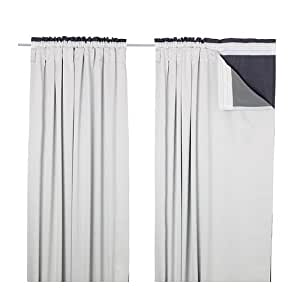 IKEA GLANSNAVA - doublures de rideaux, 1 paire, gris clair - 143x290 cm