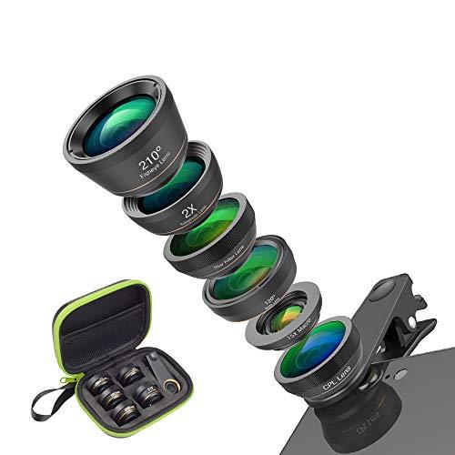 CHAOZHAOHENG Universelles 6-in-1-Telefon-Kameraobjektiv Fischaugenobjektiv Weitwinkel-Makroobjektiv CPL/Sternfilter 2X-Tele für Fast alle Smartphones