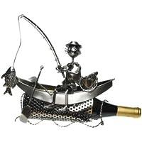 Porta bottiglie in metallo pescatore in barca 29x 29cm