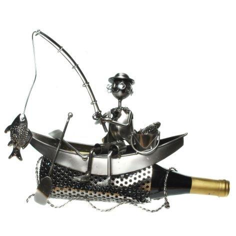 GeschenkIdeen.Haus - Flaschenhalter - Metallfigur als Angler im Boot