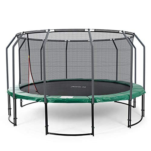 Ampel 24 Deluxe Trampolin 490 cm grün komplett mit innenliegendem Netz, Belastbarkeit 180 kg, Sicherheitsnetz mit 12 Stangen