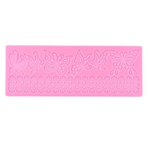 GLOGLOW Schmetterlings-Spitze-Matte Kuchen-Spitze-Form-Kuchen-Dekor-Versorgungsmaterialien Fondant-Spitze-Form-Silikon-Prägungsmatte-Schmetterlings-Spitze-Form-Farben-Rosa