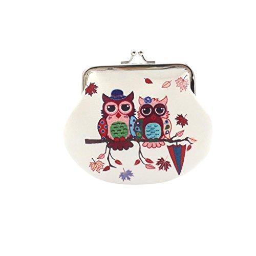 Internet Hibou Femmes Détenteur Portefeuille Card Porte-monnaie d'embrayage sac à main 12 * 14cm (B)