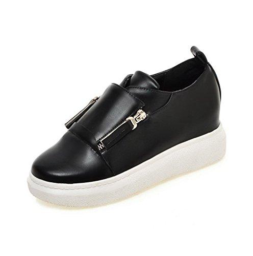 AllhqFashion Femme Pu Cuir à Talon Correct Rond Couleur Unie Zip Chaussures Légeres Noir