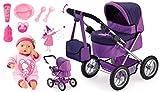 Bayer Design Cochecito Set-con Muñeca bebé primeras Palabras y Muchos Accesorios, Color púrpura (13012AF)