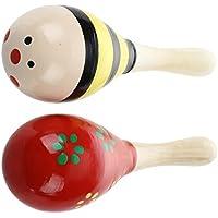 SODIAL(R) 2 Maraca madera Percussion Shaker Juguete para Ninos Kids