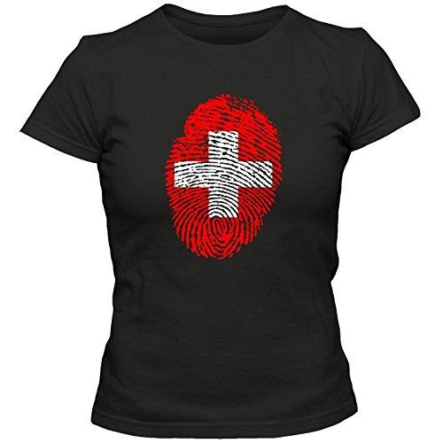Damen T-Shirt Schweiz Switzerland Suisse Svizzera Fußball Trikot Fingerabdruck WM EM, Farbe:Schwarz;Größe:L