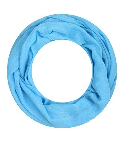 Majea Loop Alice schmaler Damen-Schal Loop Frühlingsschal Schlauchschal Rundschal Tuch uni unisex unifarben einfarbig Halstuch (aqua)