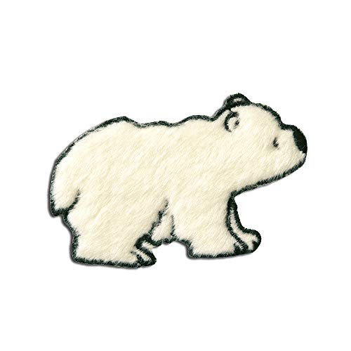 Aufnäher/Bügelbild - Eisbär Plüsch Tier Kinder - weiß - 5x7,9cm - Patch Aufbügler Applikationen zum aufbügeln Applikation Patches Flicken - Männliche Eisbären