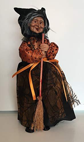 gur Hexe und Besen, 30 cm, Orange und Spinnennetz-Motiv ()