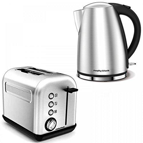 Russell Hobbs Accents Gebürstetes Silber Edelstahl Elektrisch Heiss Siedend Wasser Kessel Krug & 2 Scheiben Toaster Küche Set