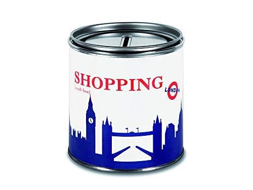 44spaces Spardose London Shopping in royal blau - Geschenk Geld verschenken Geldverpackung Reise Urlaub Hochzeit