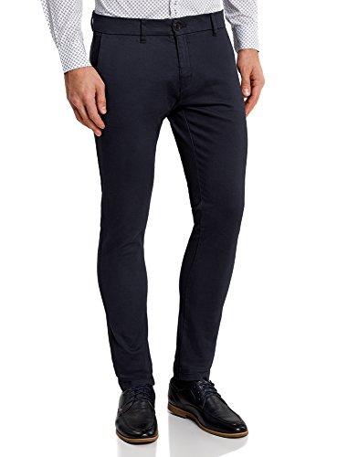 oodji Ultra Hombre Pantalones Chinos de Algodón, Azul, ES 40 (M)