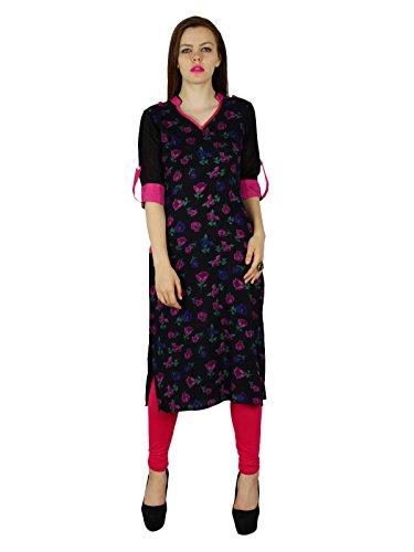 Bimba Frauen schwarze Blumen Rayon Kurta Kurti Classique Chic Lässige Tunika Bluse Schwarz
