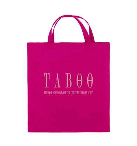 Comedy Bags - TABOO - LOGO2 - Jutebeutel - kurze Henkel - 38x42cm - Farbe: Schwarz / Pink Pink / Rosa